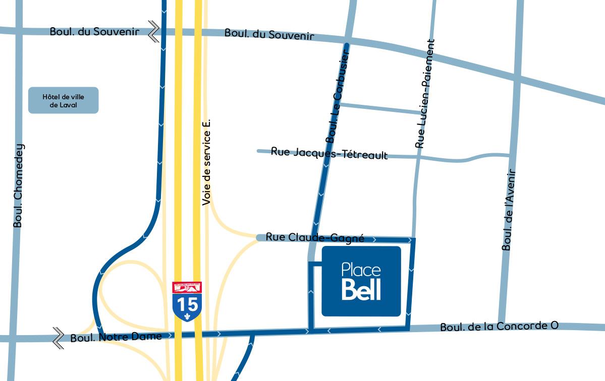 Place Bell  espaces commerciaux Map